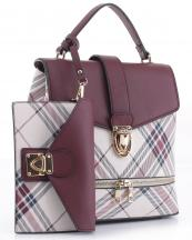 PL1045S(WN)-wholesale-vegan-leatherette-handbag-set-plaid-style-design-wallet-metal-tap-closer-backpack-style(0).jpg