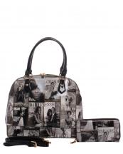 PM0051W(BKWT)-wholesale-handbag-fashion-wallet-set-2pcs-megazine-printed-patent-leatherettte-michelle-barack-obama(0).jpg