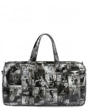 PM017(BKWT)-wholesale-magazine-duffle-bag-patent-leatherette-michelle-barack-obama-black-white-shoulder-strap(0).jpg