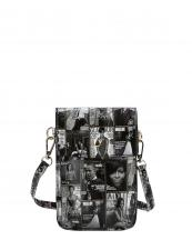PQS010(BKWT)-wholesale-mini-messenger-bag-cell-phone-case-michelle-barack-obama-magazine-patent-flap-vegan-strap(0).jpg