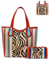 SERA25376Z(RD)-(SET-2PCS)-wholesale-handbag-wallet-set-2pcs-zebra-serape-multi-color-stripe-concealed-double-pocket-animal(0).jpg