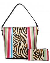 SERA25435Z(BK)-(SET-2PCS)-wholesale-handbag-wallet-set-2pcs-zebra-serape-multi-color-stripe-animal-pattern(0).jpg