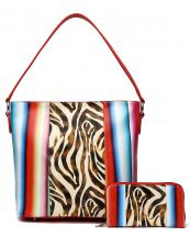 SERA25435Z(RD)-(SET-2PCS)-wholesale-handbag-wallet-set-2pcs-zebra-serape-multi-color-stripe-animal-pattern(0).jpg