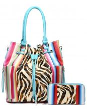 SERA25610Z(TL)-(SET-2PCS)-S32-wholesale-handbag-wallet-set-2pcs-zebra-serape-multi-color-stripe-animal-pattern-drawstings-pocket(0).jpg
