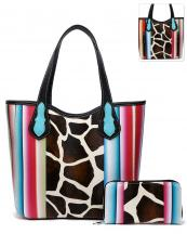 SERA5376G(BK)-wholesale-handbag-wallet-set-2pcs-giraffe-serape-multi-color-stripe-concealed-double-pocket-animal(0).jpg