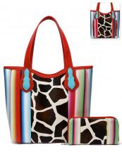 SERA5376G(RD)-(SET-2PCS)-wholesale-handbag-wallet-set-2pcs-giraffe-serape-multi-color-stripe-concealed-double-pocket-animal(0).jpg