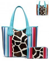 SERA5376G(TL)-(SET-2PCS)-wholesale-handbag-wallet-set-2pcs-giraffe-serape-multi-color-stripe-concealed-double-pocket-animal(0).jpg