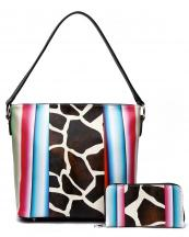 SERA5435G(BK)-(SET-2PCS)-wholesale-handbag-wallet-set-2pcs-giraffe-serape-multi-color-stripe-animal-pattern(0).jpg