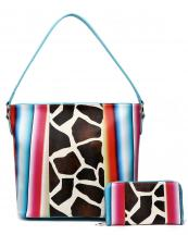 SERA5435G(TL)-(SET-2PCS)-wholesale-handbag-wallet-set-2pcs-giraffe-serape-multi-color-stripe-animal-pattern(0).jpg