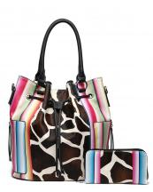 SERA5610G(BK)-(SET-2PCS)-wholesale-handbag-wallet-set-2pcs-giraffe-serape-multi-color-stripe-animal-pattern-drawstings-pocket(0).jpg