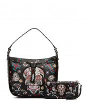 SKU105420(BK)-wholesale-handbag-wallet-set-sugar-skull-cross-floral-star-rhinestone-turquoise-ostrich-drawstring(0).jpg