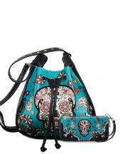 SKU105420(TL)-wholesale-handbag-wallet-set-sugar-skull-cross-floral-star-rhinestone-turquoise-ostrich-drawstring(0).jpg