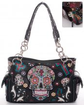 SKU48469(BK)-wholesale-faux-leather-concealed-carry-gun-handbag-studded-western-sugar-skull-floral--(0).jpg