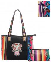 SKUS5435(BK)-wholesale-bandbag-set-2pcs-sugar-skull-serape-aztec-pouch-bag-floral-cross-multicolor-embroidered(0).jpg