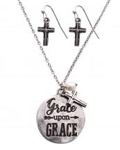 SS0463(SB)-wholesale-necklace-earrings-set-grace-cross-pendant-metal-chain-circle-lobster-clasp-lonestar-arrow(0).jpg