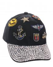 SS0641(BK)-wholesale-baseball-cap-rhinestones-beads-embroidered-patches-smile-face-star-anchor-crown-velcro-hat(0).jpg