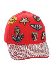 SS0641(RD)-wholesale-baseball-cap-rhinestones-beads-embroidered-patches-smile-face-star-anchor-crown-velcro-hat(0).jpg