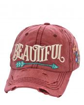 T13BEA01(BUR)-wholesale-cap-beautiful-arrow-life-floral-emboss-embroidered-multicolor-vintage-torn-baseball-cotton(0).jpg