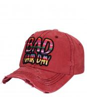 T13BHD02(BUR)-wholesale-cap-bad-hair-day-serape-embossing-embroidered-rainbow-color-stripe-vintage-torn-baseball(0).jpg