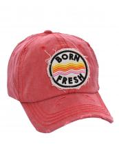 T13BRN01(RD)-wholesale-baseball-cap-born-fresh-wave-multi-color-cotton-vintage-torn-embroidered-hook-loop-closure(0).jpg