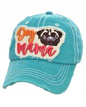 T13DOG03(TQ)-wholesale-cap-dog-mama-pug-face-embossed-embroidered-baseball-vintage-torn-stitch-cotton-multicolor(0).jpg