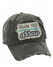 T13FLW01(BK)-wholesale-baseball-cap-follow-your-arrow-embroidered-vintage-torn-cotton-hook-loop-closure(0).jpg