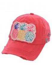 T13PIN01(COR)-W01-wholesale-cap-pineapple-strawberry-watermelon-hello-summer-embroidered-vintage-torn-stitch-baseball(0).jpg