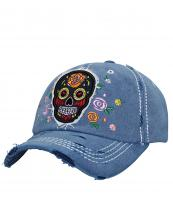 T13SKL01(NV)-wholesale-cap-sugar-skull-floral-embroidered-vintage-torn-baseball-stitch-cotton-rose-flower-multi(0).jpg