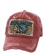 T13SPT01(BUR)-wholesale-baseball-cap-free-spirit-native-indian-chief-feather-tribal-chevron-vintage-embroidered(0).jpg