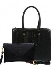 WE0017(BK)-wholesale-handbag-clutch-set-2pcs-alligator-ostrich-pattern-leatherette-animal-zipper-vegan-leather(0).jpg