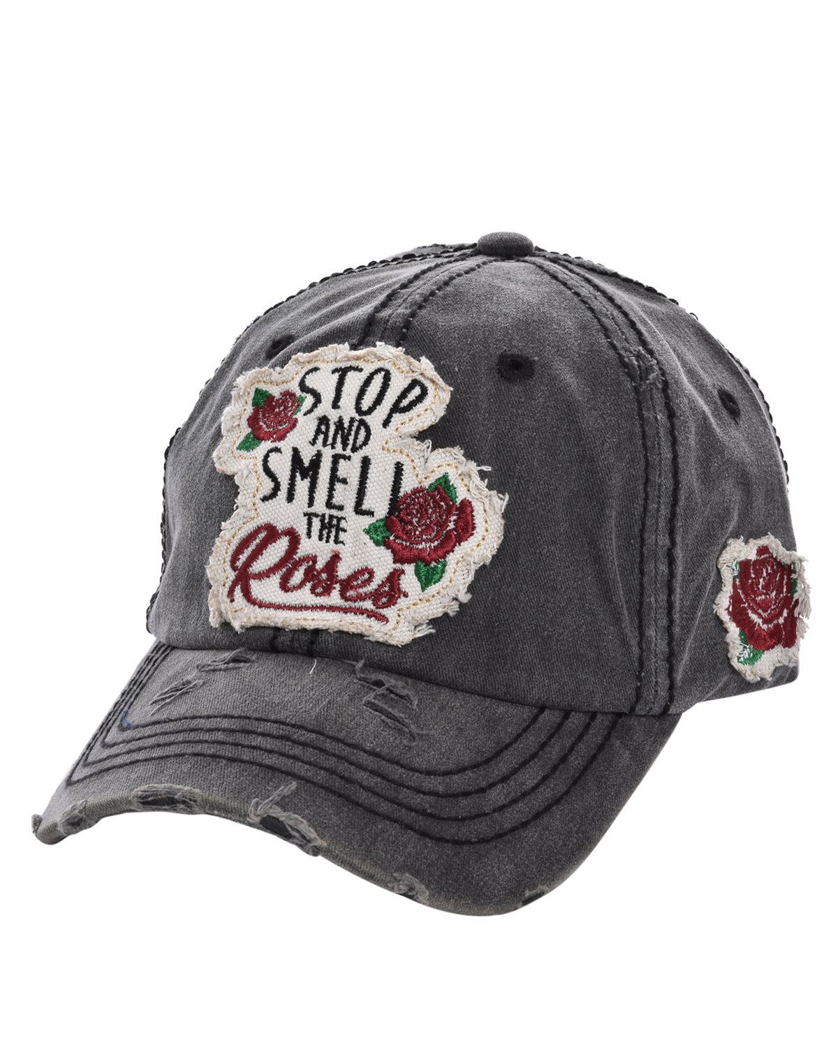 T13ROS01(BK)-wholesale-baseball-cap-stop-smell-roses-floral-cotton-vintage-torn-embroidered-hook-loop-closure(0).jpg