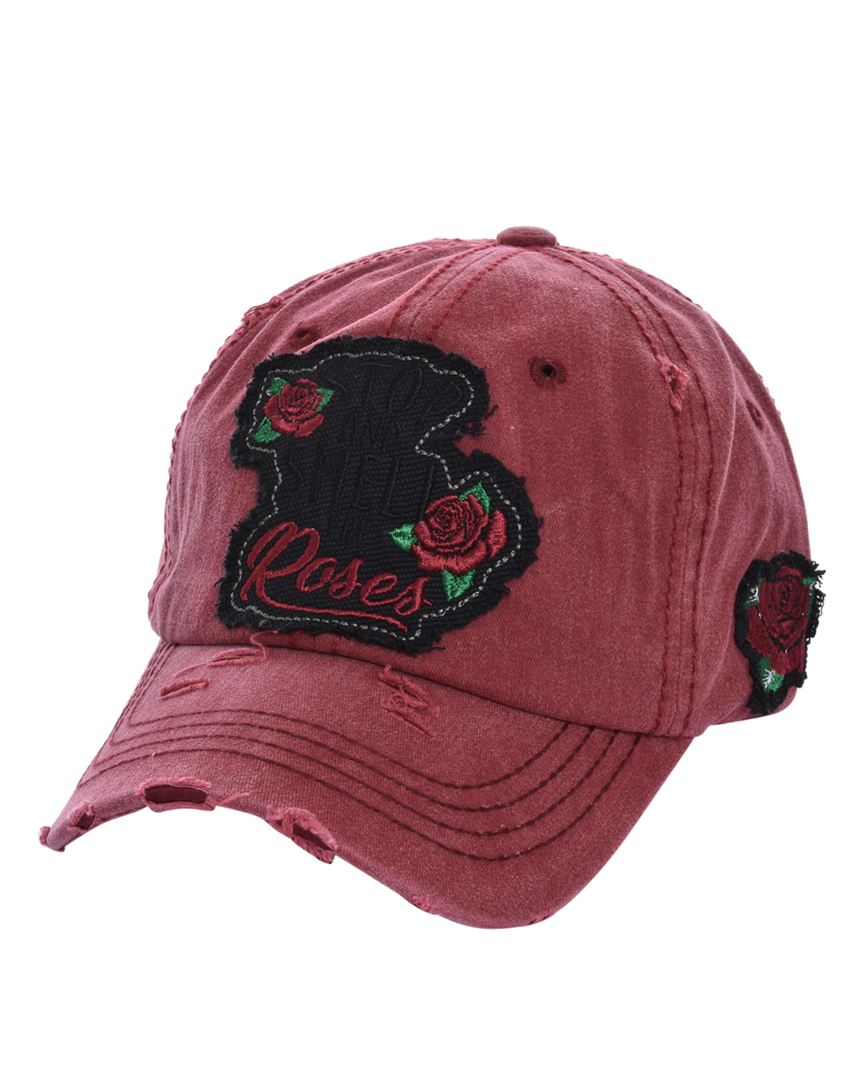 T13ROS01(BUR)-wholesale-baseball-cap-stop-smell-roses-floral-cotton-vintage-torn-embroidered-hook-loop-closure(0).jpg